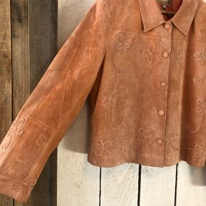 The Territory Ahead Jackets & Coats - Vintage peach faded floral suede leather jacket XL